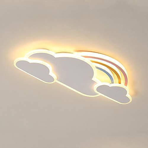 Habitación infantil LED Lámpara de techo Nubes Arco iris diseño Regulable Ultra delgado Con control remoto Lámpara de techo Marco de metal acrílico Pantalla de lámpara dormitorio guardería Lámpara,L43