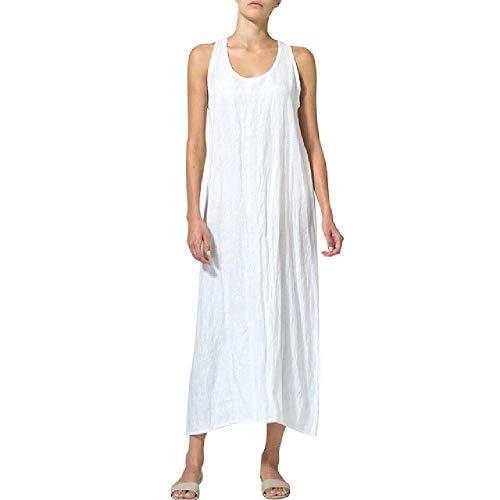 Vestido casual de verano de las mujeres de color sólido U cuello sin mangas de algodón y lino suelto chaleco maxi vestido