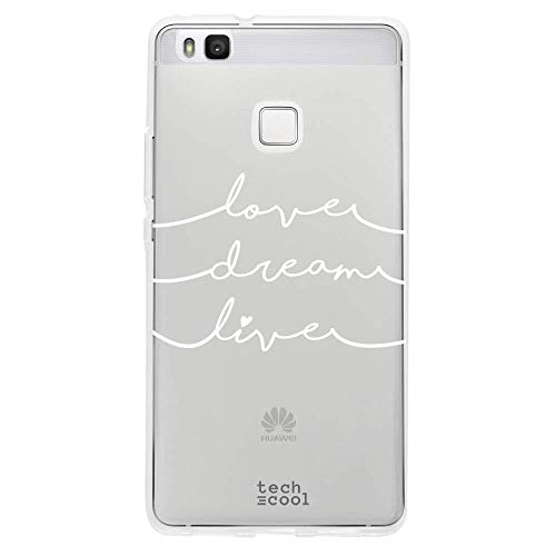 Funnytech Funda Silicona para Huawei P9 Lite [Carcasa Resistencia y Definición Ultra Slim] Frase Love, Dream and Live Transparente