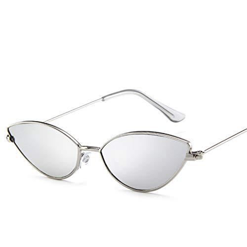 YIERJIU Gafas de Sol Cute Cat Eye Sunglasses Mujeres Summer Retro Small Frames Black Red Cat Eye Sunglasses para Mujeres,Silver