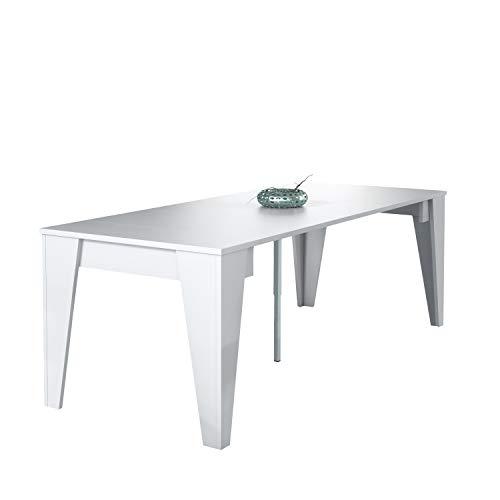 Eettafel console uitschuifbaar tot 239 cm, wit, Afmetingen gesloten: 90x53.6x74.6 cm hoog.