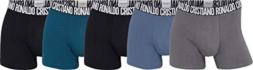 CR7 Cristiano Ronaldo Herren 5-Pack Men's Cotton Trunk Badehose, Schwarz, Schwarz, Blau, Hellblau, Grau, L
