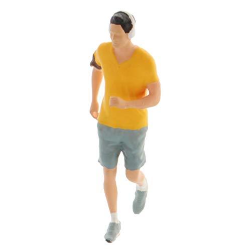 sharprepublic 1:64 Figuras en Miniatura Pintadas a Mano Escenario de Maratón Deportivo Estatuilla Edificio Diorama Personas Paisaje Accesorios - Amarillo, Hombre
