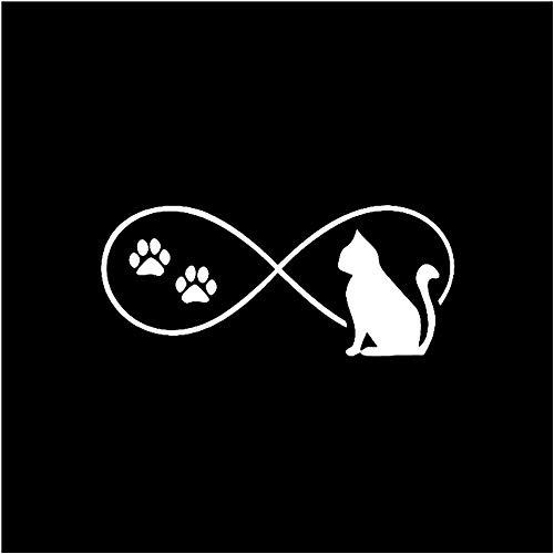 WYG 2 pegatinas de coche para coche, 2 unidades, diseño de huellas de gato, diseño de dibujos animados, color negro, plateado, 13,8 x 5,9 cm, color plateado
