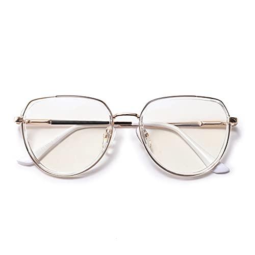 Vecien Katzenauge Groß Brille mit Blaulichtfilter ohne Sehstärke Anti-Blaulicht Gläser Brille, Blockieren Blaue Licht von PC, TV und Computerbrille (TR052 Goldener Rahmen/Anti-blau-lichtlinse, 51)