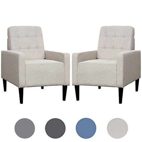 arm chairs Top Space Accent Chair Living Room Chairs Arm Chair Single Sofa Upholstered Comfy Fabric Mid-Century Modern Furniture for Bedroom Office (2PCS-1, White)