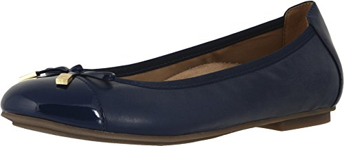 Vionic Women s Spark Minna Ballet Flat - Ladies Cap Toe Walking Flats with Concealed Orthotic Arch Support Navy 8 Medium US