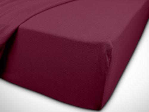 npluseins klassisches Jersey Spannbetttuch – erhältlich in 34 modernen Farben und 6 verschiedenen Größen – 100% Baumwolle, 70 x 140 cm, pflaume - 7