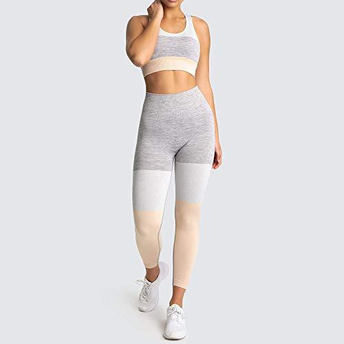 RRUI Sportswear panty & leggings voor dames panty voor outdoor yoga kleding sport yoga fitness yoga kleding tweedelige spandex dames spandex zwart overhemd + grijze broek M.
