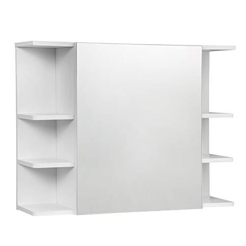 EUGAD Armarios con Espejo para Baño Cocina Mueble Espejo para Baño Mueble de Pared de baño Espejo con Estante Mueble Joyero de Madera con 8 Estantes Blanco 80x20x60cm 0134WY