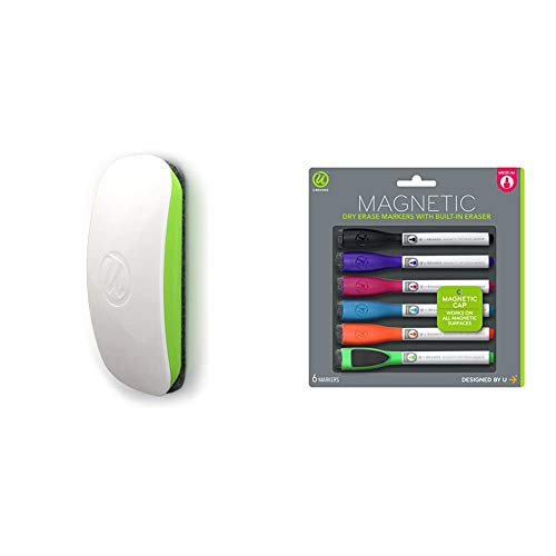U Brands Magnetic Dry Erase Board Eraser, Felt Bottom Surface, 4.5 x 2.25 x 1 Inches & Low Odor Magnetic Dry Erase Markers with Erasers, Medium Point, Assorted Colors, 6-Count - 520U06-24