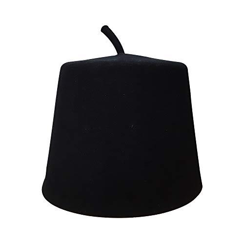TheKufi Tall Black Traditionele Fez Kufi Hoed Australische wol voelde geperforeerde Tarbush met Stem (XL)