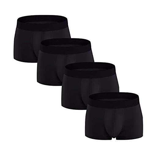FGFD Bóxers Hombre Calzoncillos Ropa Interior Trunks De Algodón Respirable CóModo Sexy Pantalones (Negro-4 Piezas, XXL)