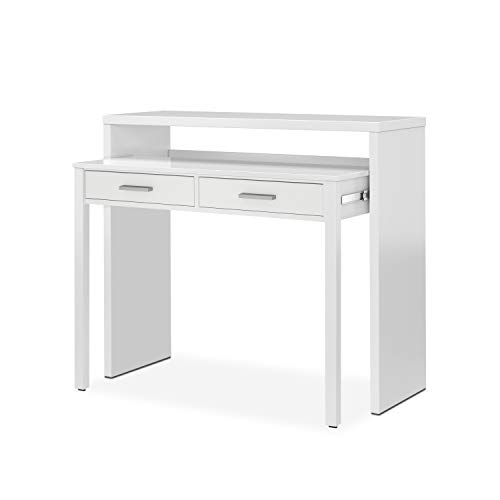 Habitdesign 004582BO - Mesa de escritorio extensible, color Blanco Brillo, medidas:...