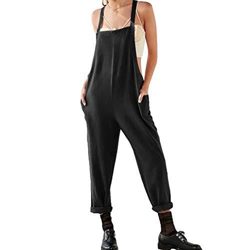 hibote Frauen Sommer Baumwolle Leinen Latzhose Jumpsuits Sleeveless Lose Oversize Tunika Kleid Plus Size Playsuits mit Weite Hosen