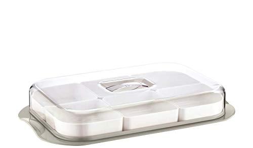 Servierschalen Set mit Deckel   Servierplatte 6-fach geteilt ideal für Frühstück, Antipasti Platte, Snacks & Dips   Süßigkeiten Snackschale Servier Set Box 36x6 cm   Servierset (Rechteckig Grau)