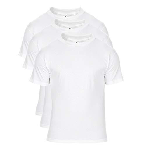 Alstyle Men's Classic Cotton Crew Neck Short Sleeve Plain T-Shirt 3-Pack-Assorted (Large, White, White, White)