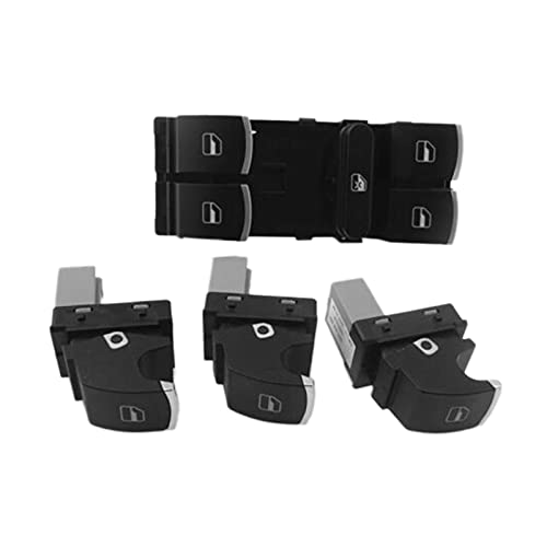XIAOSHEN SHENYUMING 4pcs Power Window Control Interruptor Interruptor Conjunto de botón Ajuste para Volkswagen Golf Mk5 6 Jetta Passat B6 Tiguan Rabbit Touran 5nd959857 5nd959855 (Color : Black)