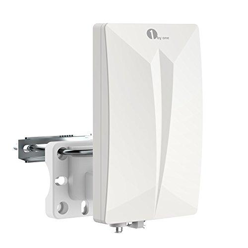 1byone Antenna TV Digitale per Interno e Esterno HDTV/DVB-T, VHF/UHF/FM, per Digitale e Analogico, con Circuiti SMD, Rivestimento Anti-UV, Filtro LTE 4G Integrato,Resistente all'Acqua e Compatta
