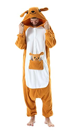SAMGU Tier Onesie Pyjama Cosplay Kostüme Schlafanzug Erwachsene Unisex Animal Tieroutfit tierkostüme Jumpsuit Orange Känguru M