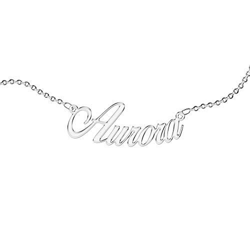 Collana Personalizzata, da Donna, con Nome. Indossa il Tuo Nome. Acciaio Inossidabile e Anallergico. Colore Argento. Progettata in Italia. (Aurora)