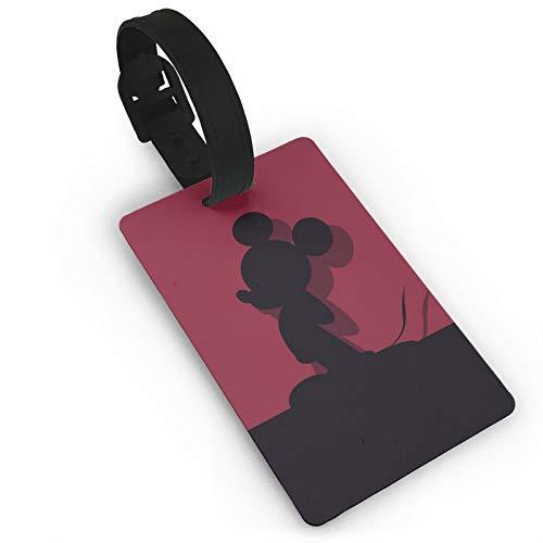 DNBCJJ Etiquetas de equipaje para maletas Mickey Mouse Shadow etiqueta de equipaje, con nombre ID maleta para mujeres, hombres, niños, accesorios de viaje
