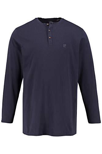 JP 1880 Herren große Größen bis 8XL, Langarm-Shirt, Henley, Knopfleiste, Rundhalsausschnitt, Navy 4XL 702555 76-4XL