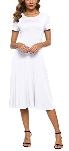 EXCHIC Damen Kleider Rundhals A-Linie Kurzarm Casual Midi Kleid (XL, Weiß)