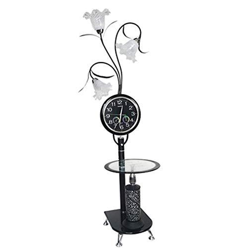 XKUN Lámparas de pie para Sala de Estar Moderno, Reloj de Cuarzo, lámpara de Lectura de pie con estantes para Sala de Estar, Dormitorio, Oficina y Dormitorio-Dimmer Switch