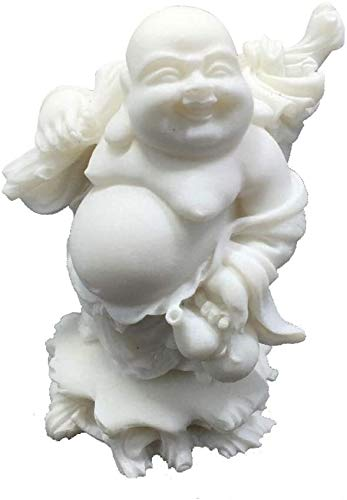 Marble Stone Laughing Buddha Statues,Chinese Feng Shui Decor,for Home and Office,Attract Wealth and Good Luck Congratulatory Gifts,White