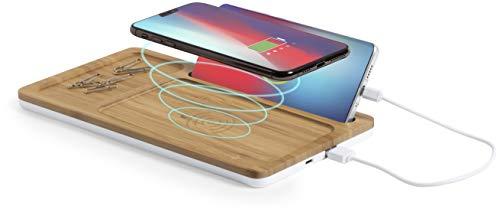 MKTOSASA - Cargador Inalámbrico Qi 5W en Bambú con Carga USB, Soporte para Smartphone y Bandeja Troquelada. Carga 2 Dispositivos Simultáneamente. para Smartphones, Tabletas, Auriculares, Smartwatches