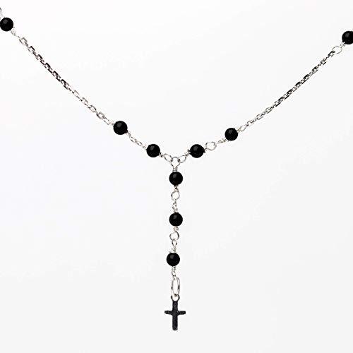 Zierliche Y-Kette schwarz silber mit Anhänger, zarte Rosenkranz-Kette mit 925er Silber-Kreuz und Onyx-Perlchen