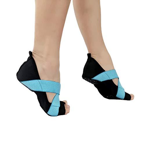 ABOOFAN 1 par de calcetines antideslizantes para bailar ballet, zapatos de baile, calcetines deportivos para mujeres y niñas, talla 37-38 (azul cielo+negro)