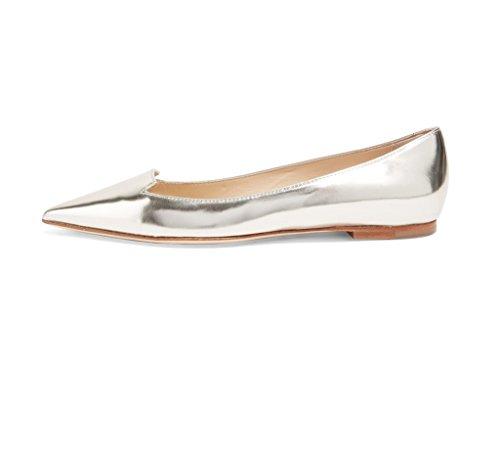 EDEFS Klassische Damen Ballerinas Metallic Glitzer Flats Party Schuhe Silber Größe EU40