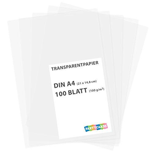 100 hojas de papel transparente papier caracteres DIN...