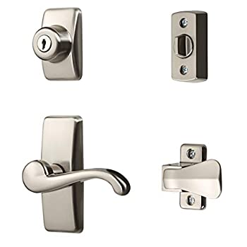 Ideal Security Inc HK01-I-099 GL Lever Set for Storm and Screen Doors with Keyed Deadbolt 4-Piece Satin Nickel