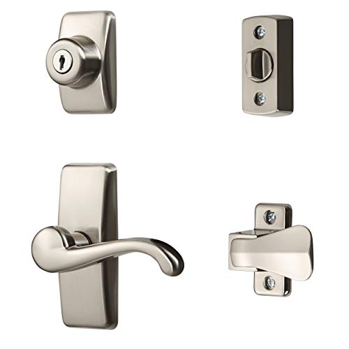 Ideal Security Inc. HK01-I-099 GL Lever Set for Storm and Screen Doors with Keyed Deadbolt, 4-Piece, Satin Nickel