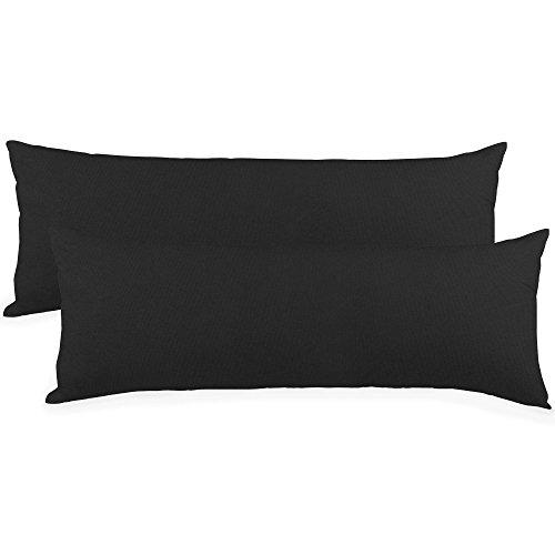 aqua-textil Classic Line - Funda de Almohada para Dormir de Lado, 40 x 200 cm, de algodón, con Cremallera, Color Negro