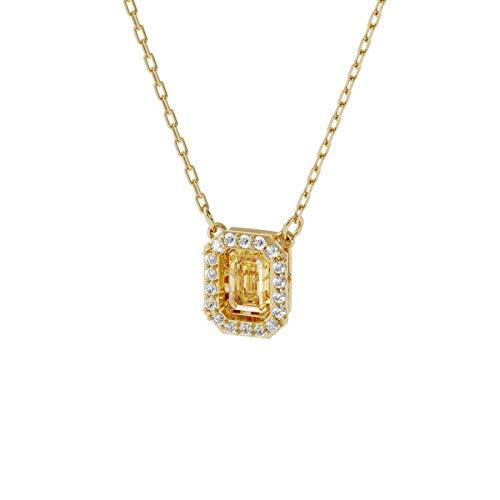 Swarovski Collar Millenia, Circonita Swarovski cuadrada, Amarillo, Baño tono oro