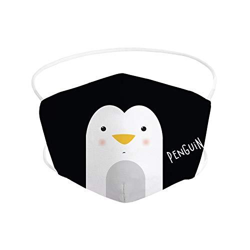 Pekebaby Mascarilla Infantil de tela lavable reutilizable 2 capas + bolsillo con 1 filtro incluido, diseño 166 PINGUINO, doble ajuste elástico