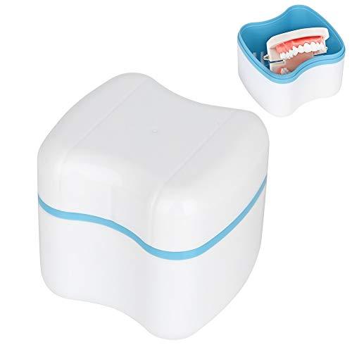 Estuche para dentadura, dentadura postiza, caja de almacenaje, caja de baño, dentadura postiza, ortodoncia, protector bucal dental, porta contenedores con pantalla de filtro (Color : Azul)