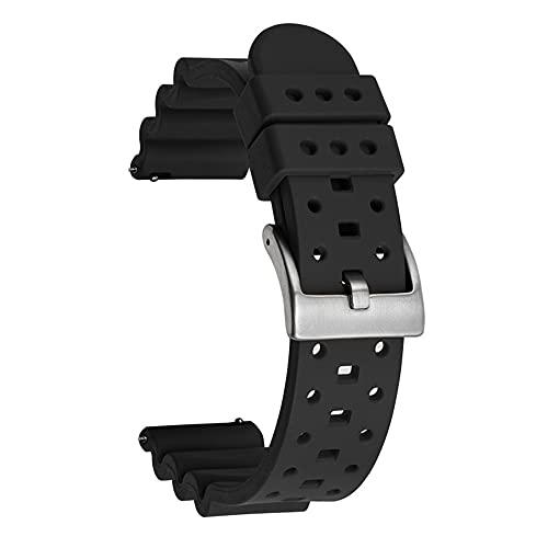 LIANYG Correa De Reloj 20mm 22 mm 24 mm Caucho de liberación rápida de la Correa de Las Mujeres Hombres del Reloj del Reloj del Reloj del Reloj 493 (Band Color : Black, Band Width : 22mm)