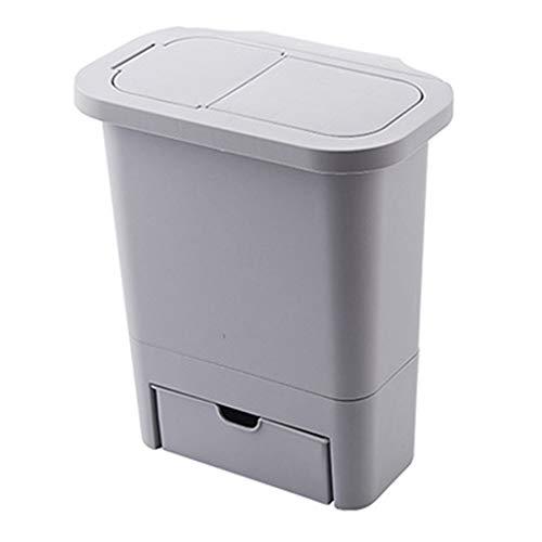 XIANGBEI Cubo de basura para colgar en la puerta del armario de la cocina con tapa montado en la pared