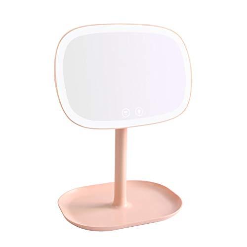 Espejo De Aumento Con Luz Espejo De Maquillaje Iluminado 10x Portátil De Alta Definición Cosmético Iluminado Espejo Brillo Ajustable for Baño O Dormitorio Tablero De Mesa ( Color : Pink )