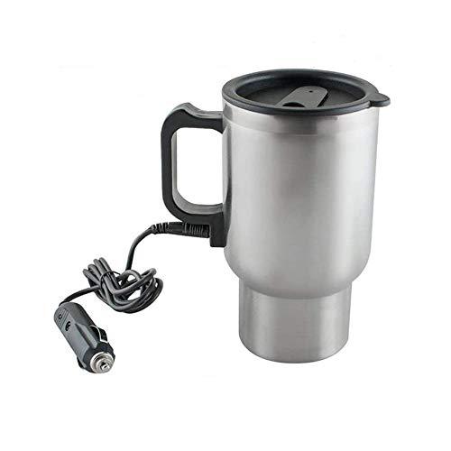 Finlon Edelstahl-Reisebecher 12 V im Auto Thermoskanne Thermobecher beheizter Reisebecher Tasse Tee Kaffee Isolierbecher 450 ml mit Autoladesystem