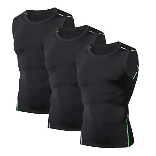 LUWELL PRO Magliette a Compressione per Uomo Quick Dry 3 Pack Canotte T Shirt Canotta da Running da Uomo per Allenamento, Basket, Palestra(Nero-M)