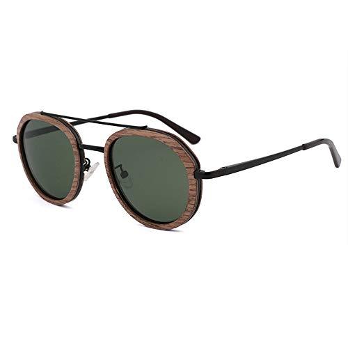 DKee Gafas de Sol Gafas De Sol De Bambú Y Madera De Los Hombres Y De Las Mujeres Retro Redondos Verdes De UV400 Gafas De Sol del Marco De Madera