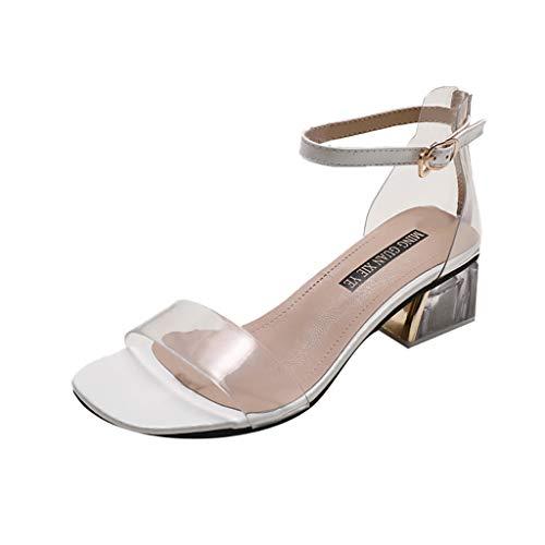 Sandalias Tacones Altos Mujer Verano Zapatillas De Tacón Alto Medio Partido Cuadrado Zapatos De Punta Redonda Transparente Grueso Tacón Pvc Peep Toe Sandalias Fiesta De Mujer Wyxhkj