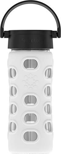 Lifefactory Glas Trinkflasche mit Silikon-Schutzhülle, BPA-frei, auslaufsicher, spülmaschinenfest, 350ml, weiß