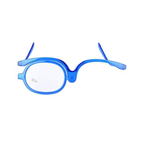 Ingrandisci Occhi Occhiali Da Trucco Rotanti a Lente Singola, 3 Colori Grado Di Ipermetropia Ingrandisci Occhiali Da Trucco, Strumento Per Il Trucco Delle Donne(300 + Blue)